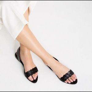 Zara Black Leather Braided Slingback Sandals 8